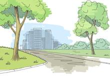 Street Road Graphic Color City Landscape Sketch Illustration Vector