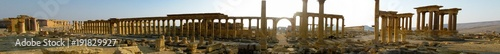 Poster Ruine Panorama of Palmyra columns, Tetrapylon, ancient city, destroyed now, Syria