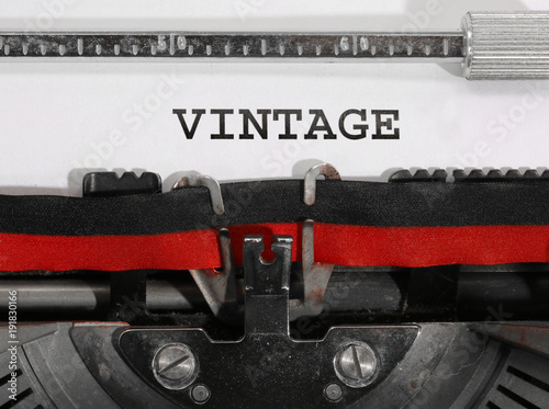 Foto op Aluminium Retro wide Text VINTAGE written with the old typewriter