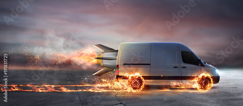 Super fast delivery of package service with van with wheels on fire Wallpaper Mural