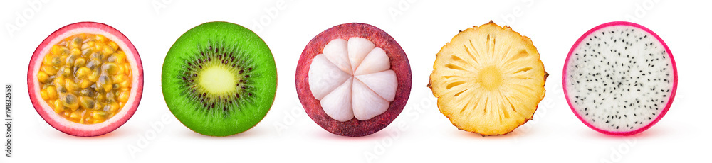 Fototapeta Isolated tropical fruits slices. Fresh exotic fruits cut in half (maracuya, kiwi, mangosteen, pineapple, dragonfruit) in a row isolated on white background with clipping path