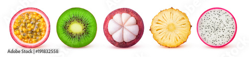 Poster Fruits Isolated tropical fruits slices. Fresh exotic fruits cut in half (maracuya, kiwi, mangosteen, pineapple, dragonfruit) in a row isolated on white background with clipping path