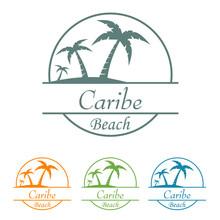 Icono Plano Caribe Beach En Varios Colores