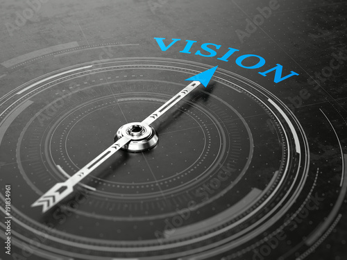 Business vision concept - Compass needle pointing Vision word Canvas Print
