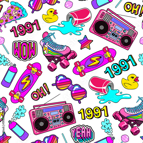 Fotografie, Obraz  Seamless pattern with colorful elements from the nineties