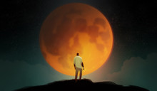 Digital Illustration Art Painting Style A Man Standing On The Hill Agains Biggest The Blue Blood Moon, Many Starry And Clouds In Night Time, Loneliness, Lonely, Introvert Concept.
