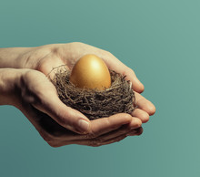 Female Hands Carefully Hold The Nest With A Golden Egg. The Concept Of Saving And Increasing Savings.