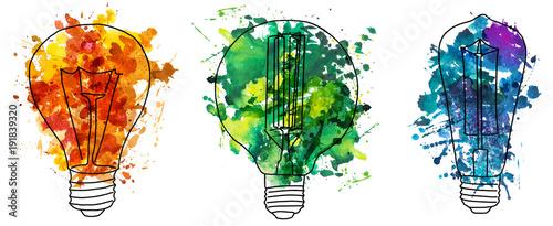 Fotografie, Obraz  2d hand drawn illustration of three edison's bulb