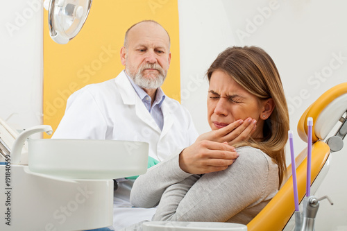 Stampa su Tela Female patient with toothache at the dentist office