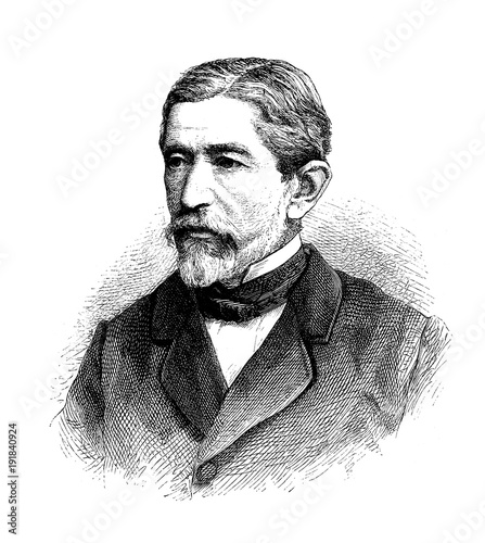 Photographie  Hermann von Mallinckrodt, German parliamentarian, vintage engraving portrait
