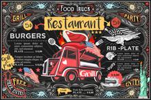 Food Truck Menu With Logo. Hip...
