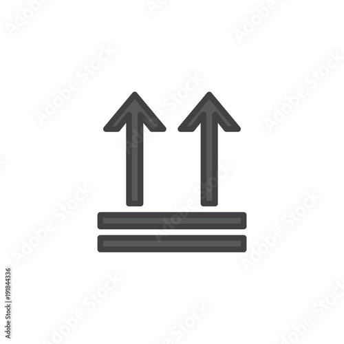 Keep Up Package Handling Label Filled Outline Icon Line Vector