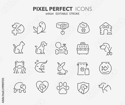 Photo  pets and vet thin line icons