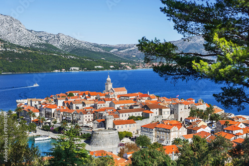 Fotografie, Tablou View of the Korcula town, Korcula island, Dalmatia, Croatia