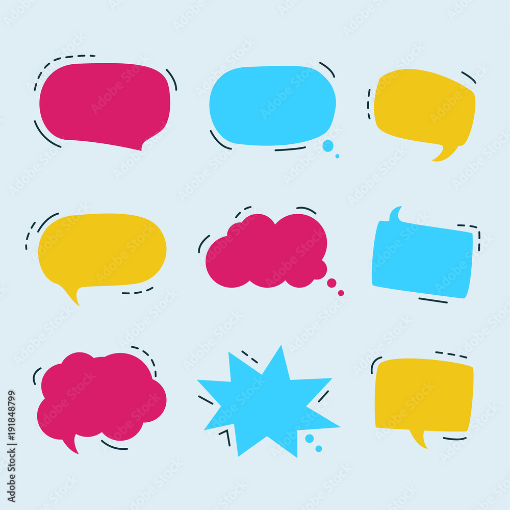 Fototapeta Set of colorful speech bubbles set