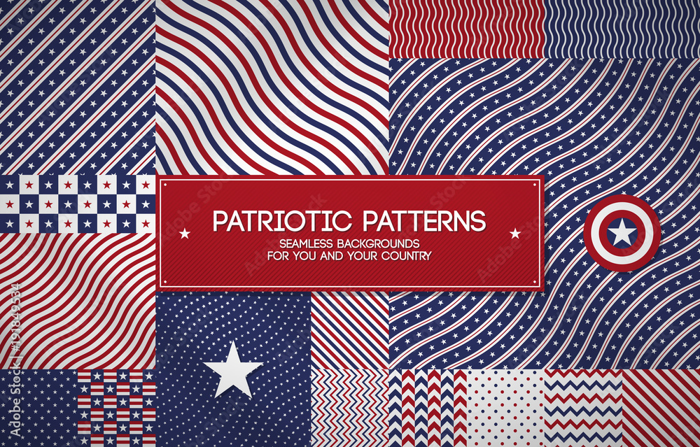 Fototapeta Set of patriotic american patterns with stars and stripes. Useful for Memorial day, Independence day, national and political events.
