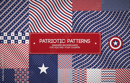 Set of patriotic american patterns with stars and stripes. Useful for Memorial day, Independence day, national and political events.