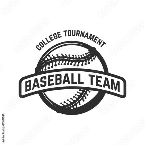 Emblem with baseball ball Poster
