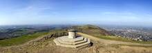 The Toposcope And Memorial On Worcestershire Beacon In Hazy Spring Sunshine, The Highest Point On The Malvern Hills , Worcestershire, UK