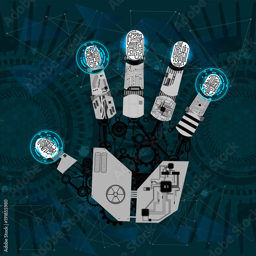 Printed kitchen splashbacks Fairytale World mechanical arm, robot hand, hand graphics in technological guise, arm mechanism