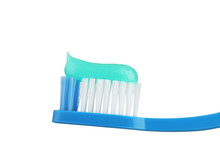 Blue Toothbrush Isolated On White Background