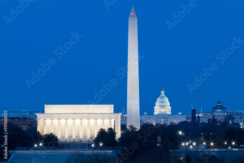 Fotografie, Obraz  Washington DC monuments, Lincoln, Washington and Capitol Building