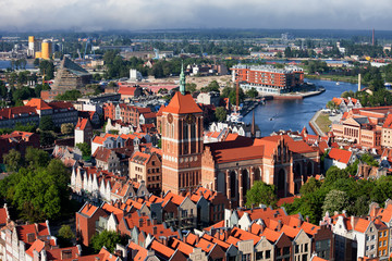 View Over City Of Gdansk In Poland