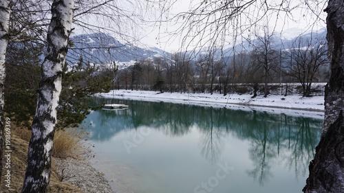 Photo Stands Dark grey Terfens in Tirol Österreich nahe Schwaz Badesee Weisslahn im Winter 2018