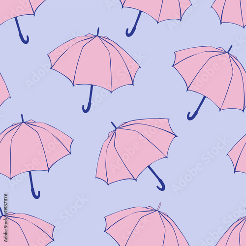 Seamless Pattern With Doodle Umbrellas For Fabric Textile Wallpaper Wrapping Paper