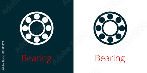 Photo Ball bearing flat vector icon on white and inversion
