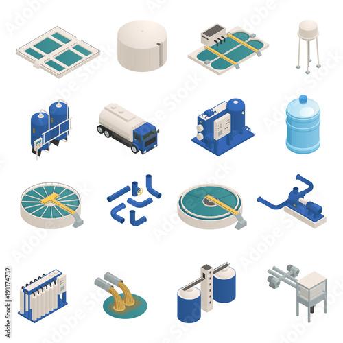 Fotografia  Wastewater Purification Isometric icons Set