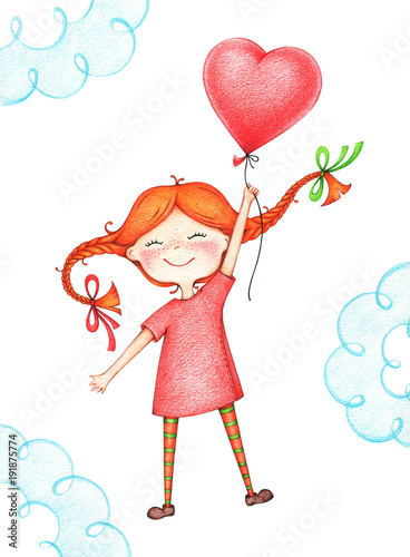 hand drawn picture of kid flying with red balloon by the color pencils фототапет