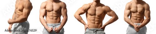 Cuadros en Lienzo  Collage with muscular young bodybuilder on white background