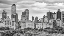 Black And White Picture Of The Manhattan Skyline Over The Central Park, New York City, USA.