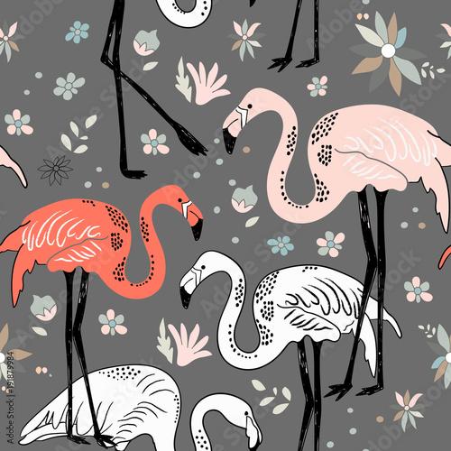 abstrakcjonistyczna-reka-malujacy-bezszwowy-zwierzecy-tlo-ptaki-flamingo