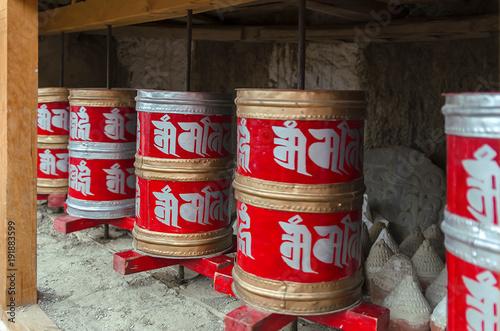 Leinwand Poster Tibetan prayer wheel