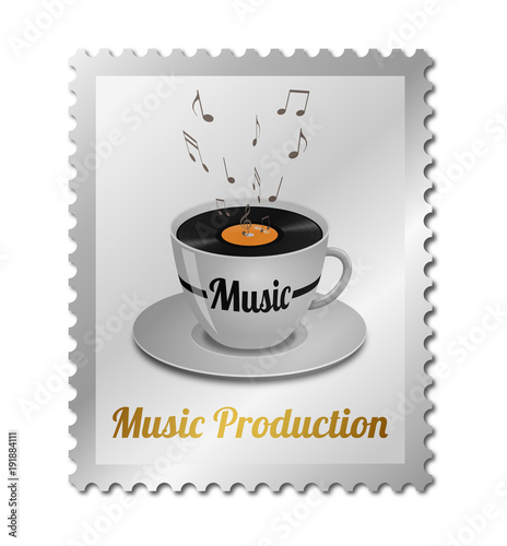 Fotografía  Concept music production on postage stamp