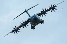 Large RAF Airbus A400 M Atlas Transport Plane Flying Head On To Camera