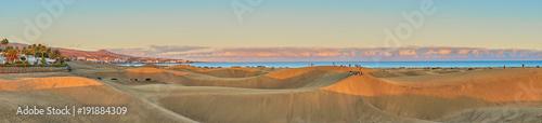 Obraz Sunset over sand dunes on Canary islands / Maspalomas - Spain  - fototapety do salonu