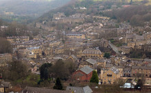 Panoramic View Of The Town Of Hebden Bridge Showing The Main Roads, Houses And Streets With Mill Chimneys In Winter