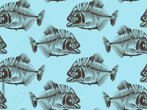 Valokuvatapetti Piranha seamless pattern blue
