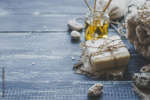Foto op Canvas Spa Spa composition. Various products for spa treatments on rustic wooden background, selective focus