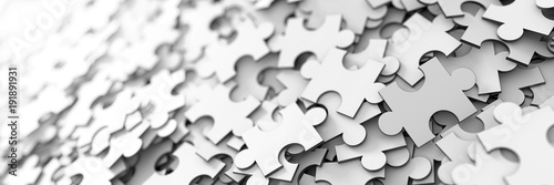 Fotografía  Jigsaw background, teamwork and strategy concepts, original 3d rendering
