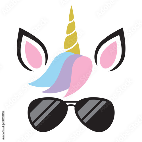 Vector illustration of cute unicorn face wearing sunglasses. Wallpaper Mural