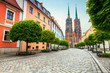 Old street panorama of Wroclaw with St John cathedral, Poland