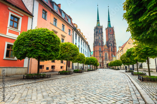 Fotografie, Obraz  Old street panorama of Wroclaw with St John cathedral, Poland