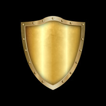 Golden Riveted Shield. Isolate...