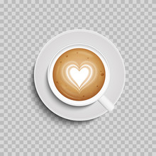 Coffee Cup. Latte Art Heart Sh...