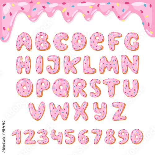 Платно Alphabet donut vector kids alphabetical doughnuts font ABC with pink letters and