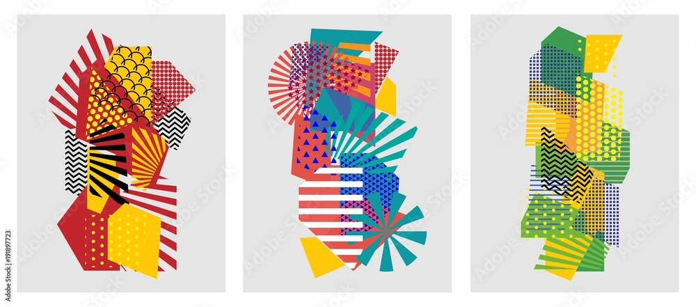 Fototapety, obrazy: Colorful trendy geometric flat elements of pattern memphis. Pop art style texture. Modern abstract design poster and cover template